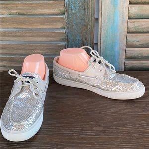 Sperry Top Sider Bahama Silver Glitter Boat Shoe